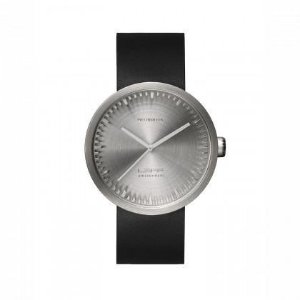 LEFF amsterdam Tube Watch D42 steel/ black leather strap by Piet Hein Eek