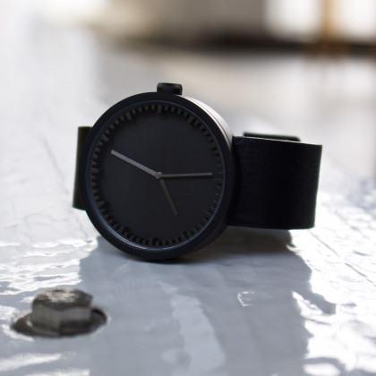 LEFF amsterdam Tube Watch D-Series black / black leather strap by Piet Hein Eek