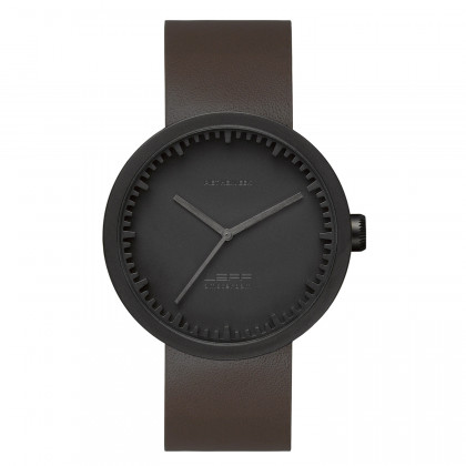 LEFF amsterdam Tube Watch D-Series black / brown leather strap by Piet Hein Eek