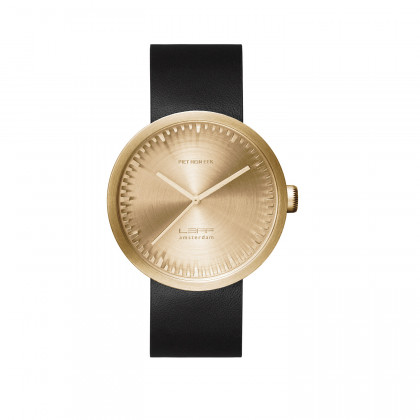 LEFF Amsterdam Tube Watch D-Series Brass / Black leather strap by Piet Hein Eek