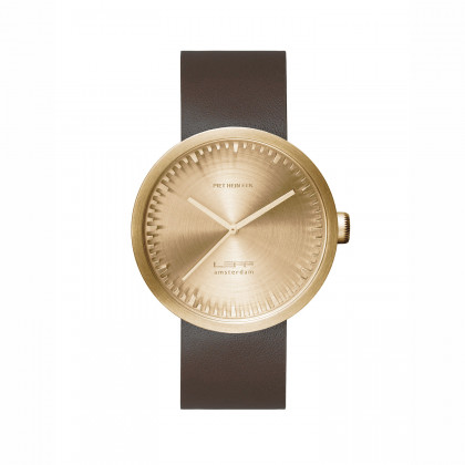 Leff Amsterdam Tube Watch D-Series Brass / Brown leather strap by Piet Hein Eek