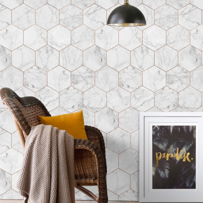 Kemra White Marble / Copper Geometric Tile Wallpaper (one roll from a batch)