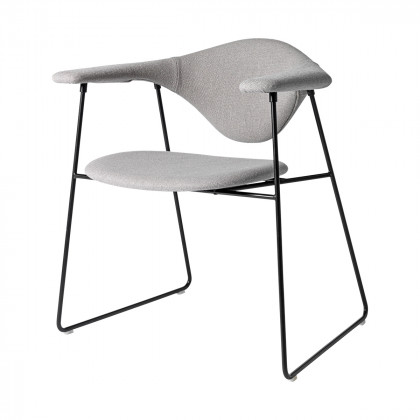 Gubi Masculo Dining Chair - Fully Upholstered - Sledge Base