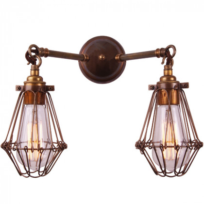 Double Cage Down Wall Light