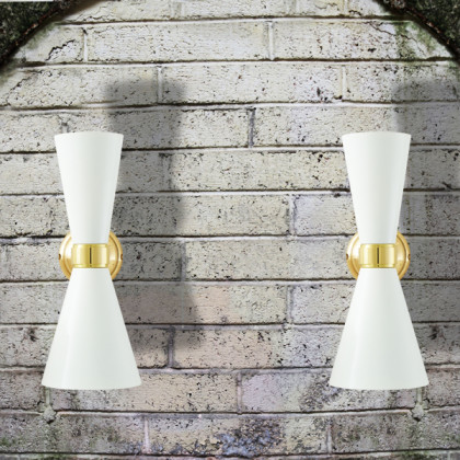 Double Cone Brass Wall Light