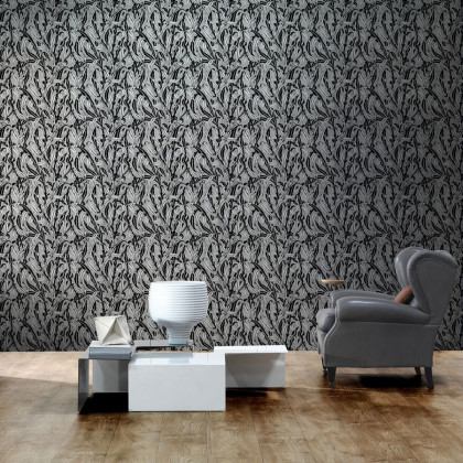 NLXL Monochrome Leaves Wallpaper By Mr & Mrs Vintage