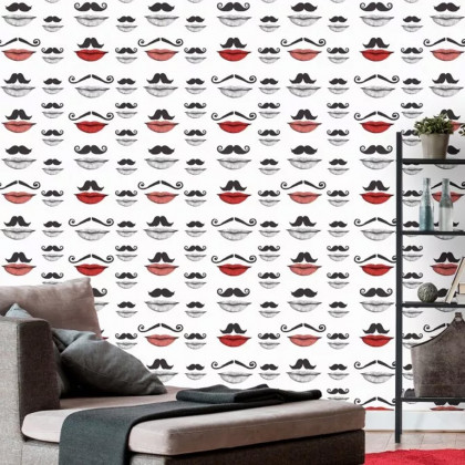 Mind The Gap Moustache And Lips Wallpaper