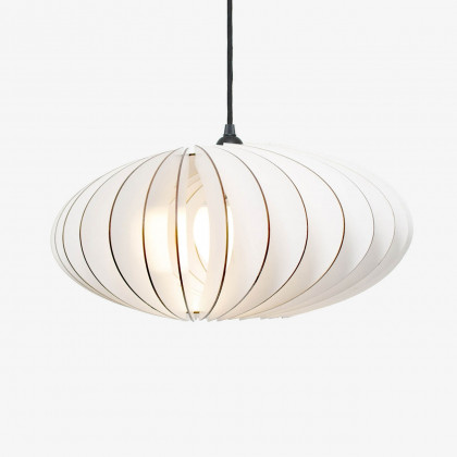 Iumi Nefi Wood Pendant Light - White (grey cable)