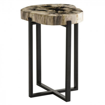 Andrew Martin Petrified Wood Peter Disk Lamp Table
