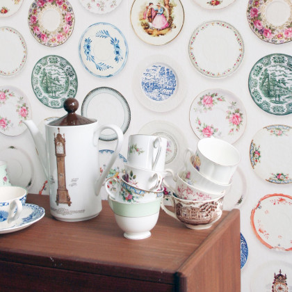 Studio Ditte Porcelain Places Wallpaper - Colourful (1 roll from a batch)