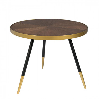 Dark Wood and Gold Coffee Table