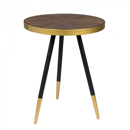 Dark Wood and Gold Side Table