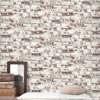 Antique Printed Red Bricks Wallpaper