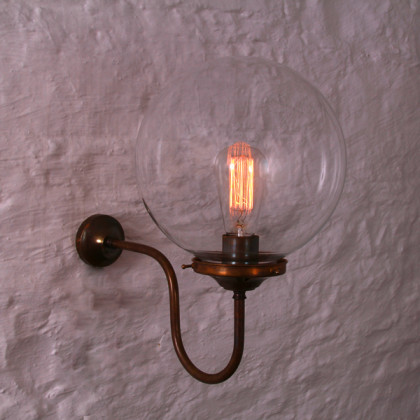 250mm Clear Globe Wall Light