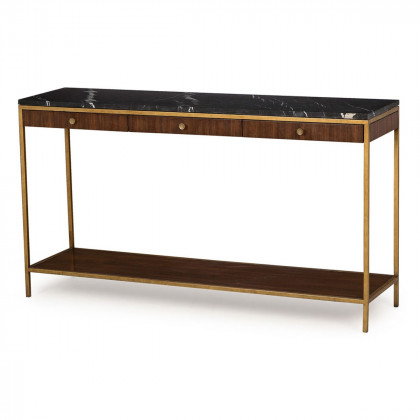 Andrew Martin Black Marble Rufus Console Table