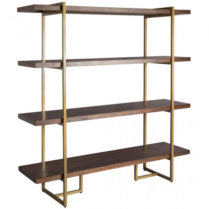 Dutchbone Class Wood and Brass Shelf Table