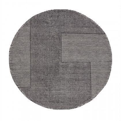 Tom Dixon Round Stripe Rug - Black / White