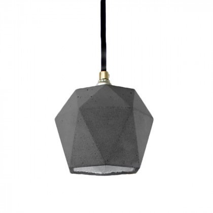 GANTlights T2 Concrete Pendant - Dark Grey - Silver Interior - Black Cord