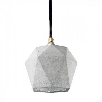 GANTlights T2 Concrete Pendant - Light Concrete - Silver Interior - Grey Cord