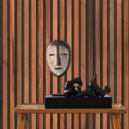 NLXL Teak On Black Timber strips Wallpaper by Piet Hein Eek
