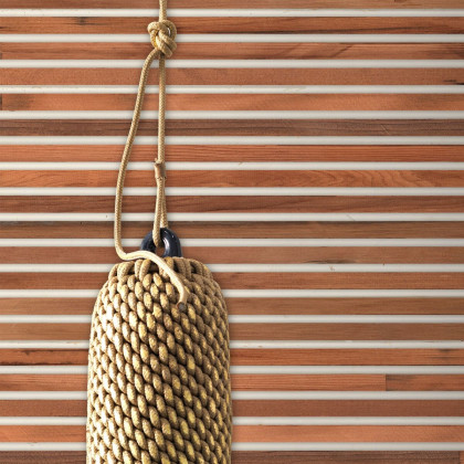 NLXL Teak on White Timber strips Wallpaper by Piet Hein Eek