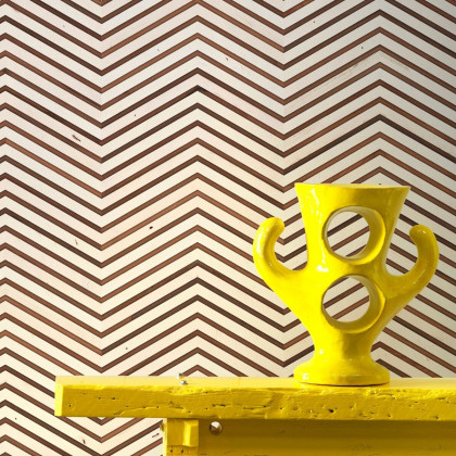 NLXL Scrapwood on Teak Chevron Timber strips Wallpaper by Piet Hein Eek