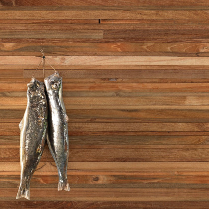 NLXL Teak on Teak Timber strips Wallpaper by Piet Hein Eek