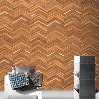 NLXL Teak on Chevron Timber strips Wallpaper by Piet Hein Eek
