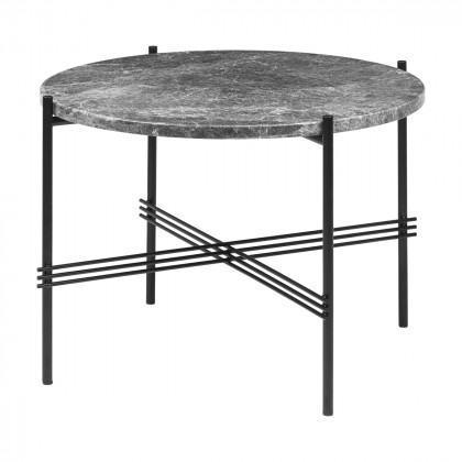 Gubi Ts Coffee Table - Round, 55cm Diameter-Grey Emperador Marble-Black