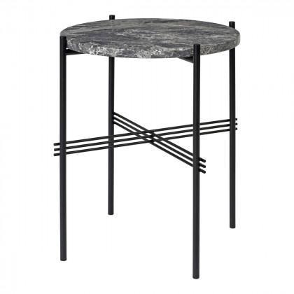 Gubi Ts Coffee Table - Round, 40cm Diameter-Grey Emperador Marble-Black