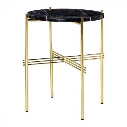Gubi Ts Coffee Table - Round, 40cm Diameter-Black Marquina Marble-Brass