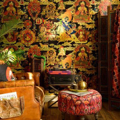 Mind The Gap Tibetan Tapestry Wallpaper - Metallic