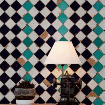Coordonne Wallpapers Turquoise Chess Tiles Wallpaper