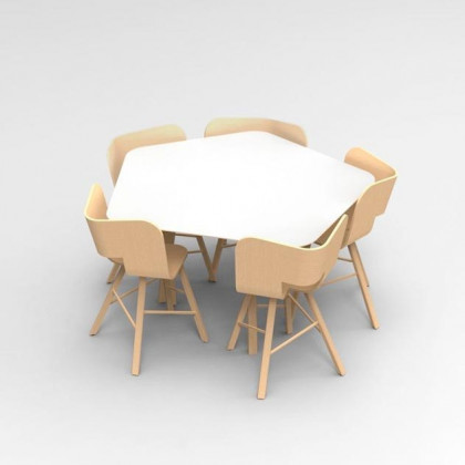 Colé Italian Design Label Tria Pentagonal Table - Natural Oak