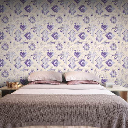 Feathr Watercolor Gems Tribal Wallpaper by Michiko Design