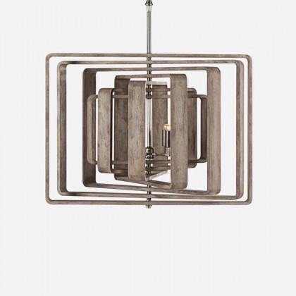 Andrew Martin Brushed Wood Zachary 7 Ceiling Spiral Light