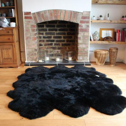 Long Wool Sexto Stitched Sheepskin Rug-Black
