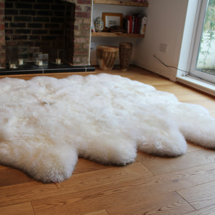 Long Wool Octo Stitched Sheepskin Rug